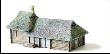 Large Log House & Barn with Thatch Roof